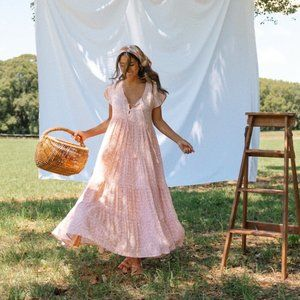 BAREFOOT BLONDE Tiered Maxi Dress